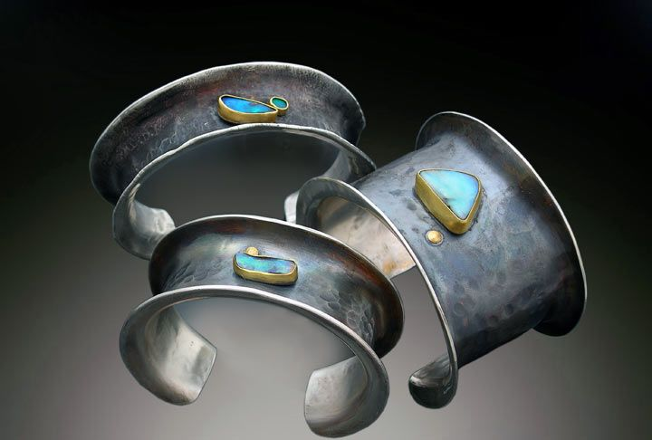 Cuffs | Patricia McCleery.  Sterling silver and boulder opals