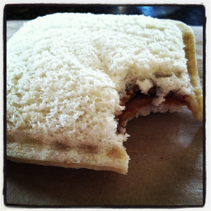 """Homemade """"Uncrustables."""" SunButter and Jam on bread. Insider tip: Place the SunButter and Jam in the very center, use a square (or round) drinking glass to seal edges -- then press together with your fingers. Can be frozen in freezer-safe plastic bags, then packed in the morning for a SBJ (SunButterAndJam) that thaws just in time for lunch!"""
