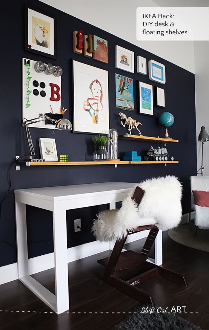 desk, shelves and a gallery wall