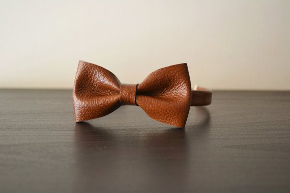 Leather bow tie / Brown leather bowtie / Bow tie by LeatherDetails