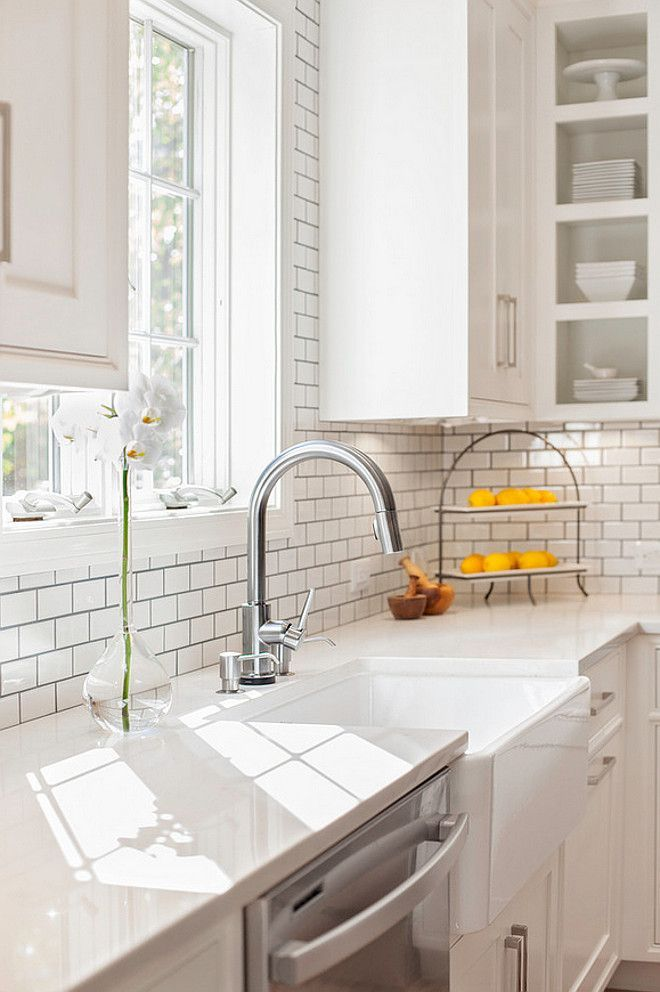 Captivating Darker Grout With Tile   Farmhouse Sink With Misty Carrara Caesarstone Quartz  Countertop And Subway Tile Backsplash. New England Design Works