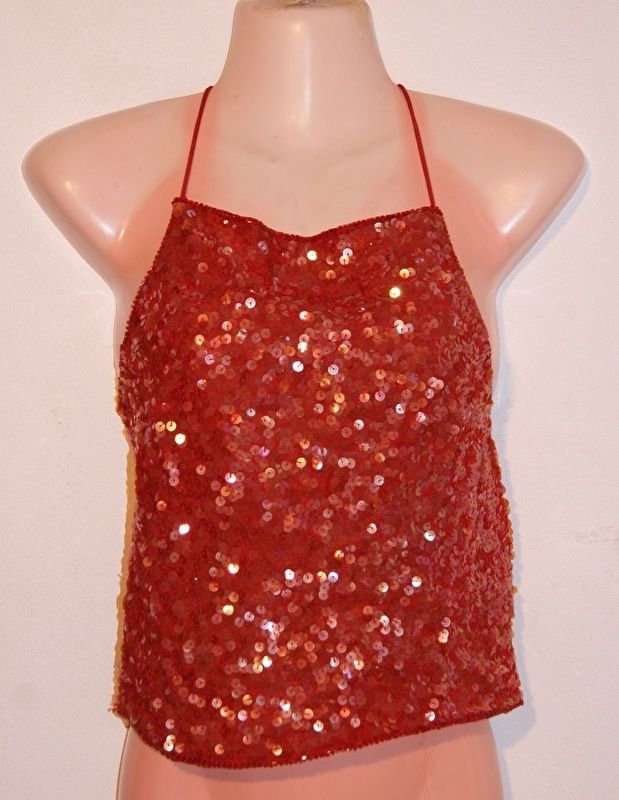 Pailletten topje party bloesje ROOD met veter / linten-sluiting achterkant - one size - fully sequinned party top blouse RED with lace closure at the backside