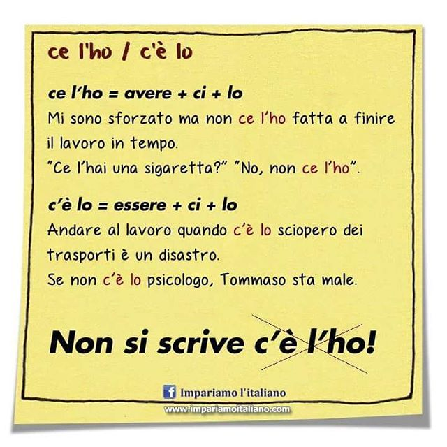Differenza tra ce l'ho e c'è lo #learnitalian #learningitalian #studyitalian…