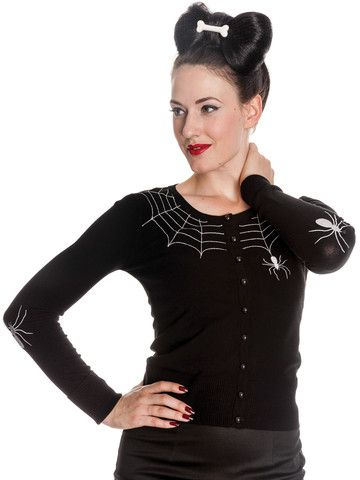 White & Black Spider Web Cardigan by Hell Bunny - Available at Anomalie Clothing - This cute and creepy black cardigan features embroidered white spider web and spider on front of cardigan around the neckline; long sleeves with embroidered spiders on the elbows; black plastic shank buttons down the front; black, stretchy, soft knit fabric (80% Rayon, 15% Nylon, 5% Spandex). The perfect addition to any alternative wardrobe.