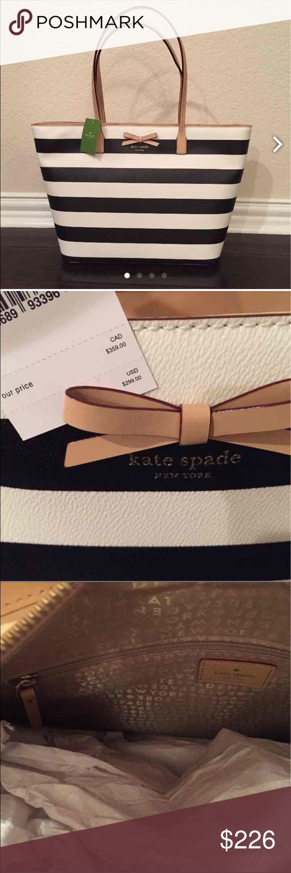 Kate Spade designer handbag black white tote Black and white stripe, nude leather detail, Kate Spade quality brand, new with tags, comes with store bag, perfect for everything, classic Kate Spade Bags Totes