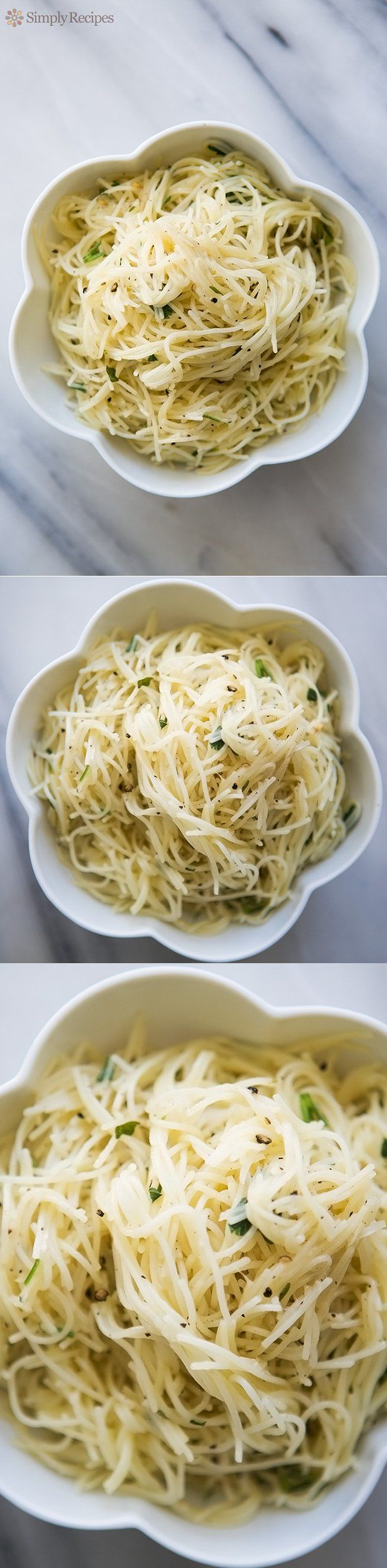 So EASY! Simple angel hair pasta side with an olive oil, garlic, herbs, and Parmesan. Cooks in 10 minutes! On SimplyRecipes.com