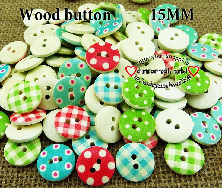 100 PCS BARU Campuran warna 15mm polka dot polka dot pedesaan kotak-kotak buatan tangan aksesoris diy tombol kayu kecil Jahit persediaan