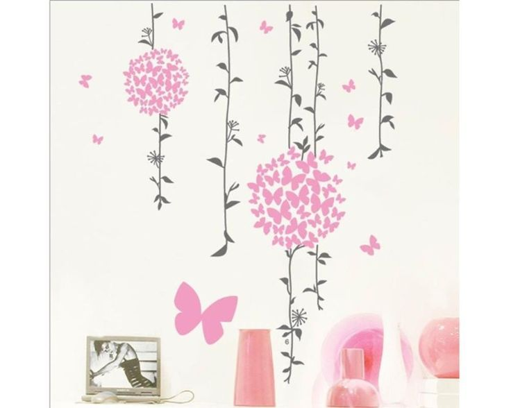 Cool Details zu W Wandtattoo Schlafzimmer romantisch Bl ten Schmetterlinge Blumenranke XXL