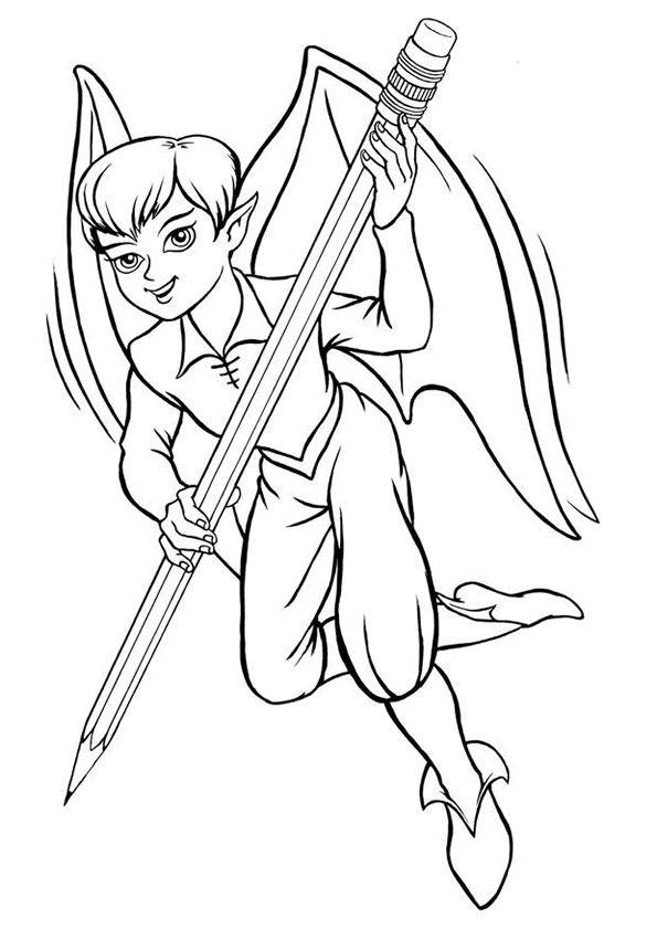 A colorier, l'elfe dessinateur avec son grand crayon