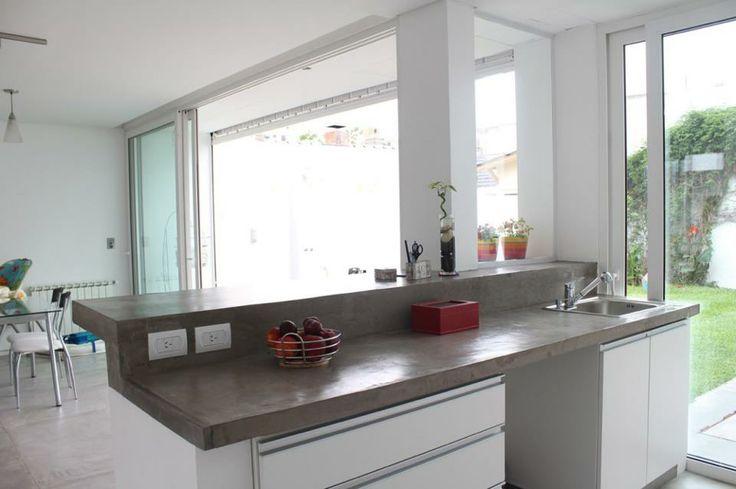 Una barra de concreto en tu cocina dura mucho y puedes for Desayunadores de concreto