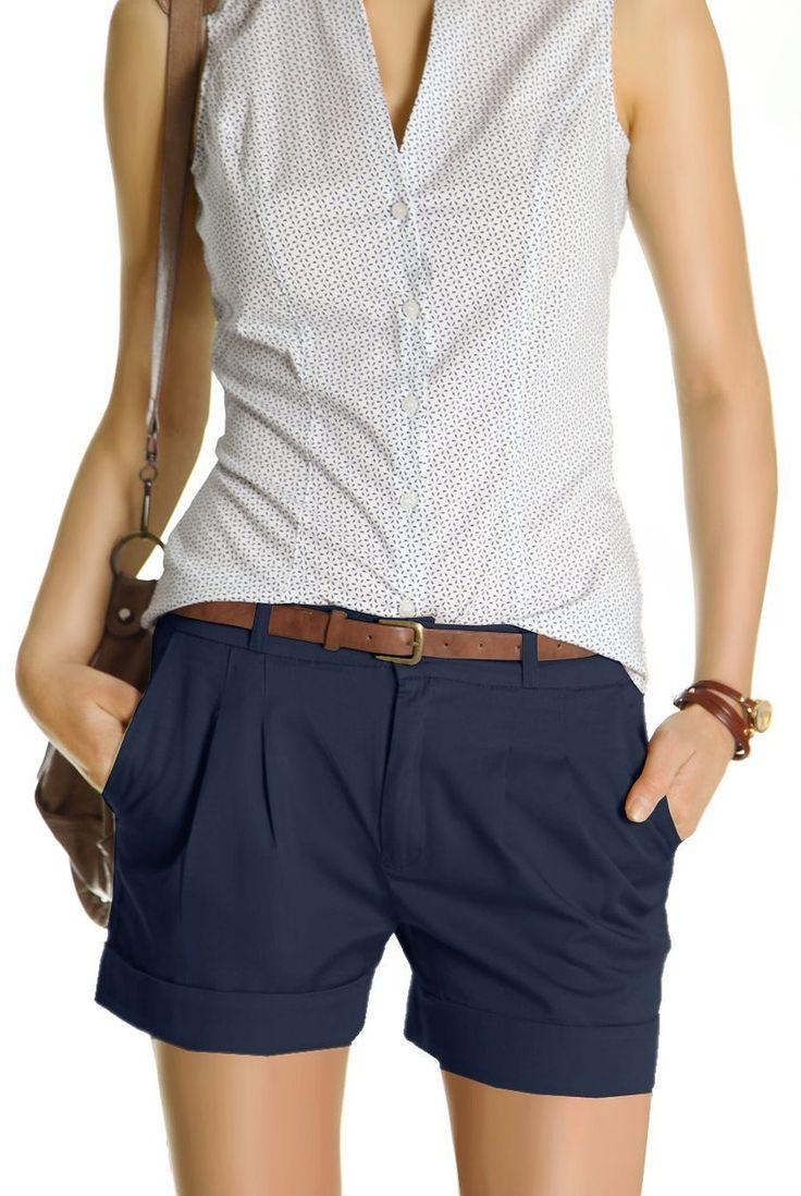 Bestyledberlin Damen Shorts, kurze Chino Hosen, Damenhosen, Bundfaltenhosen j161p 42/XL navy