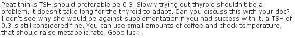 Peat thinks TSH should preferable be 0.3 - Just a note : 5-10mcg of T3 at once is still a whole lot. Peat told me once some people can only tolerate 1mcg/hour if their stress hormones are high (I'm one of those, large amounts of T3 will increase anxiety instead of lowering it).