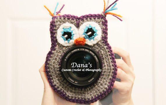 Purple/Grey Owl Camera Lens Buddy - Children - Photography - Lens - Handmade - Shutter