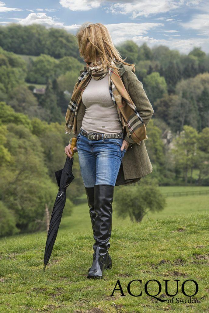 Portfolio Acquo Of Sweden Black High Boots Womens Rubber