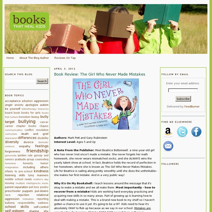 Great site that reviews books with life lessons for kids.