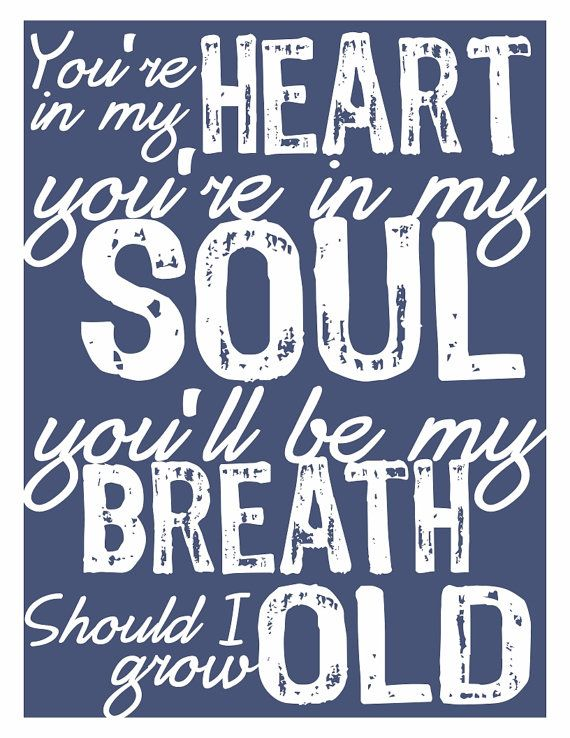 Typography Art Print - You're In My Soul - marriage wedding song anniversary custom white navy blue