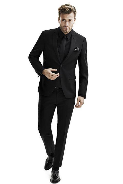 All black, suit, vest, tie #Style