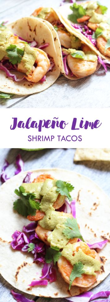 Jalapeño Lime Shrimp Tacos | Ready in 30 minutes or less and topped with GoAvo Jalapeño spread | Dairy free, gluten free | Lean, Clean, & Brie