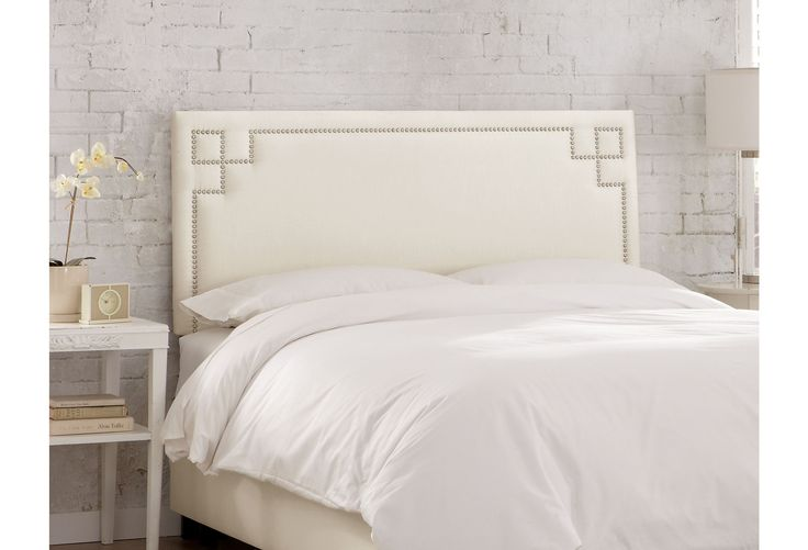 One Kings Lane - Bold Bedroom Must-Haves - Aiden Nail-Head Headboard, Cream
