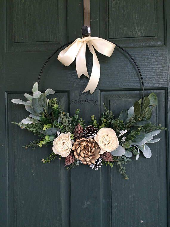 Christmas Wreath For Decor Hoop Modern Door Front Natural