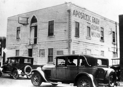 The Apostolic Faith Gospel Mission on Azusa Street in Los Angeles, California (USA) in 1907.   It was here that the diverse global faith of Pentecostalism began during the historic revivals of 1906.  Pentecostalism will soon eclipse Roman Catholicism as the single largest Christian movement in the world.