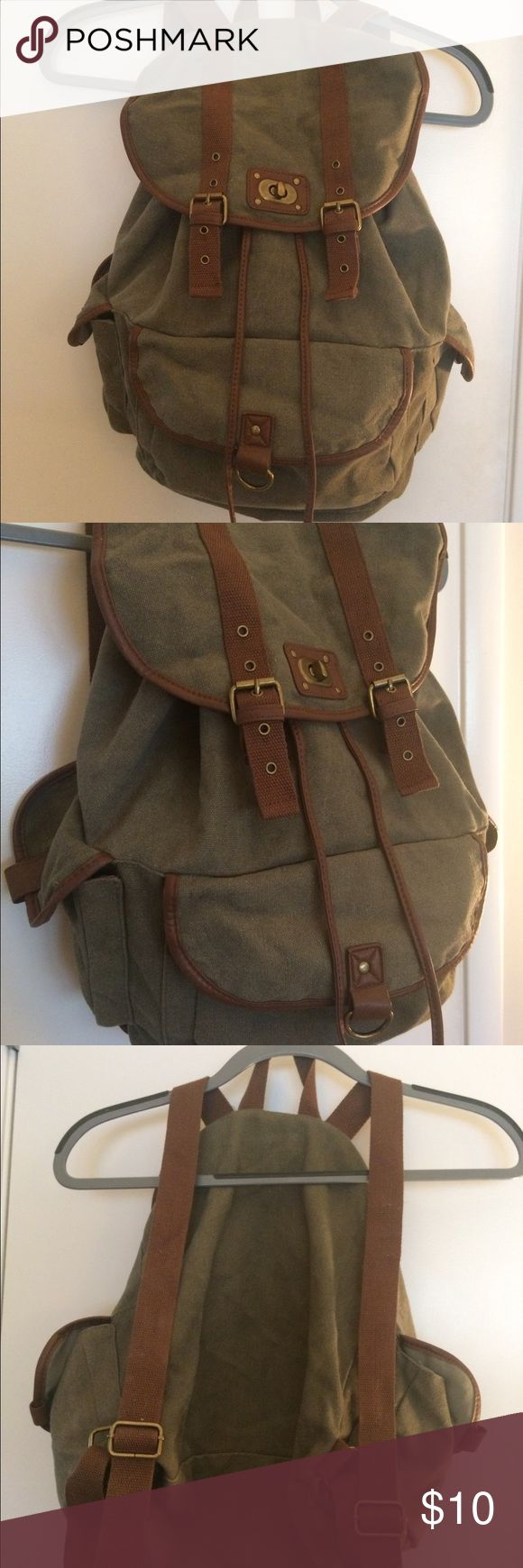 Army green backpack Tie close, 3 pockets, army green and brown straps Mossimo Supply Co. Bags Backpacks
