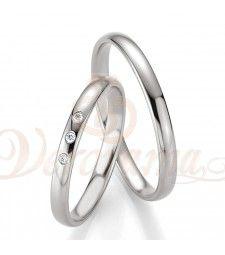 Βέρες γάμου λευκόχρυσες με διαμάντι breuning 4315-4316