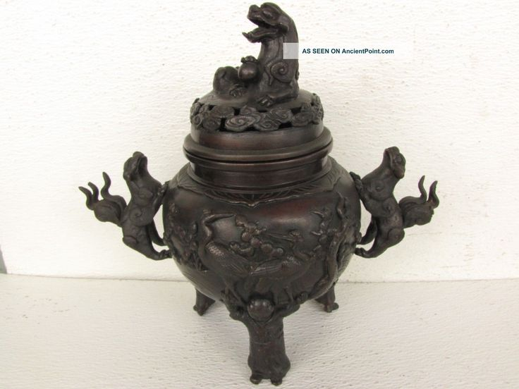 Edo Period (1615 - 1867ad) Carving Of A Bronze Incense Burner : 10 1/2
