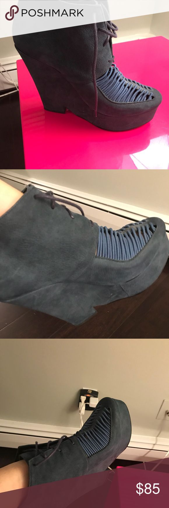 Opening Ceremony navy suede platform heels Sick navy statement booties with detailing in front. By the brand opening ceremony, platform makes for easy walking and a great set of legs!!!! Opening Ceremony Shoes Platforms