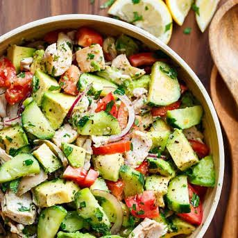 Chicken Cucumber Avocado Salad (NO COOK) with Rotisserie Chicken, Cucumber, Roma…