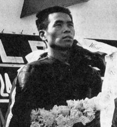 1964-世界選手権レ-ス  日本GP スズキ初参加で3位となった片山義美