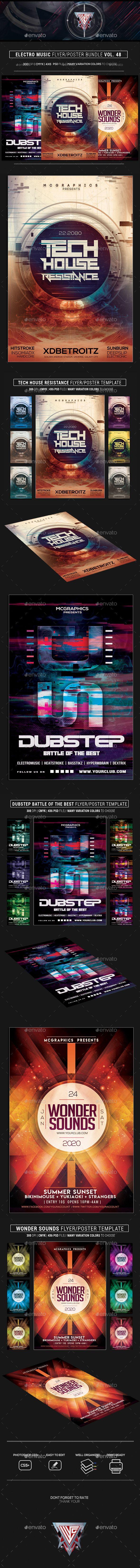 #Electro Music #Flyer Bundle Vol 48 - Flyers Print Templates