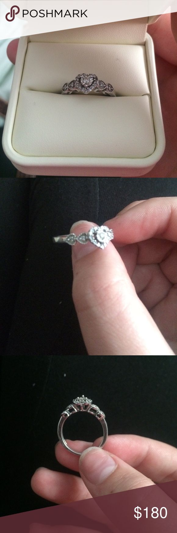 Promise ring Sterling silver band, diamonds in the hearts are 1/5 carat. Total diamond may range from .18-.22 Jewelry Rings
