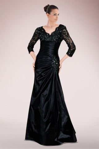 Demure Taffeta Mermaid Mother of Bride Dress Featuring Re-embroidered Lace Yoke and Pleated Bodice