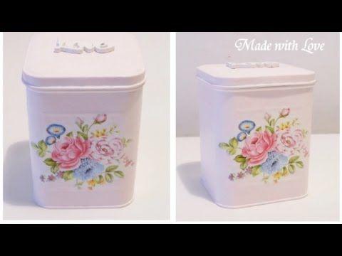 DIY Decoupage scatola Shabby Chic / Tin box ( easy ) - YouTube