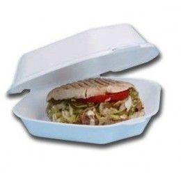 Envase fabricado en foam para kebab con unas medidas de  245 x 185 x 75 mm.