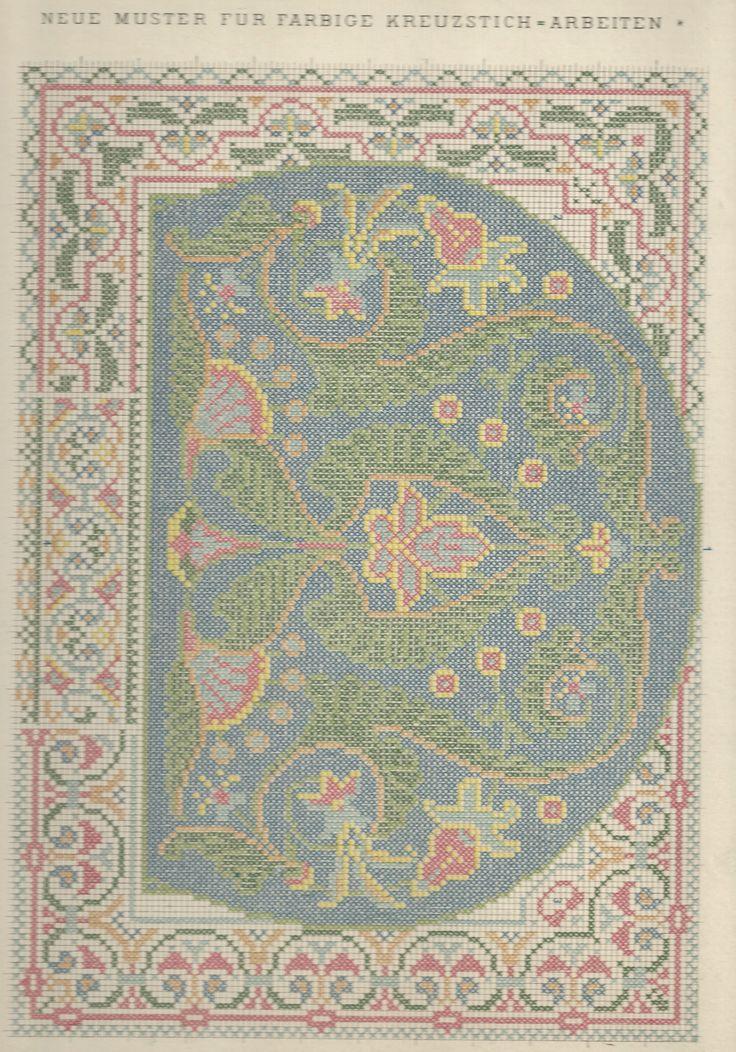 1 / Blatt 8 - Neue Muster-Vorlagen Fur Farbige Kreuzstich-Arbeiten - A. Scheffers - Published by J. M. Gebhardt's Verlag, Leopold Gebhardt, 1887
