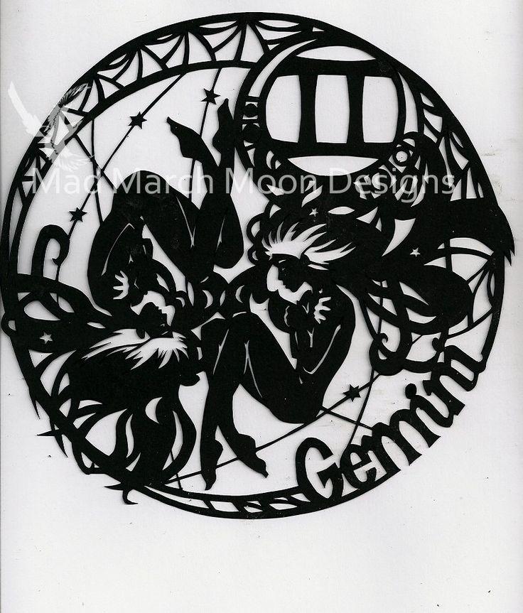 Gemini, original design papercut from a complete zodiac series.