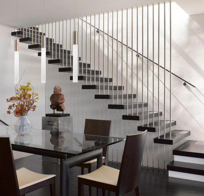 Treppen Geländer Design Esszimmer Gläserner Esstisch Tischdeko