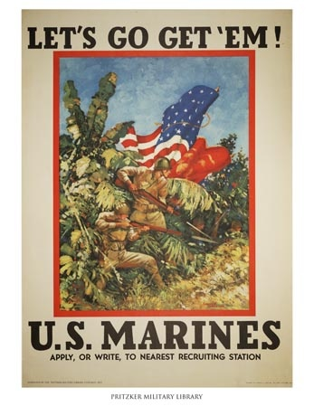 This Marines recruiting poster was created by Vic Guinness, who was a captain in the Marines. It was not uncommon to find officers working as artists for their branch during World War II, mostly by creating recruiting posters or illustrating branch literature. The bright colors used in this poster are quite a contrast from the muted tones popular on World War I posters.