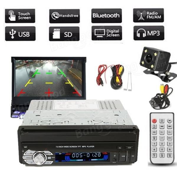 Car Single 7 Inch HD Touch Screen MP3/MP5 With Bluetooth Player Function Rear Camera With Cable