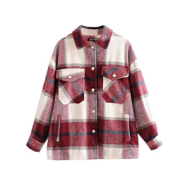Brand Name: KPYTOMOAOrigin: CN(Origin)Season: Spring/AutumnClothing Length: RegularType: LooseGender: WOMENAge: Ages 18-35 Years OldCollar: Turn-down CollarClosure Type: Single BreastedItem Type: Outerwear & CoatsStyle: STREETWEARSleeve Length(cm): FullSleeve Style: RegularThickness: STANDARDHooded: NoOuterwear Type: JacketsMaterial: PolyesterDecoration: PocketsPattern Type: Plaid Plaid Coat, Plaid Jacket, Tweed Coat, Plaid Flannel, Shirt Jacket, Wool Coat, Polo Shirt, Polyester Material, Parka