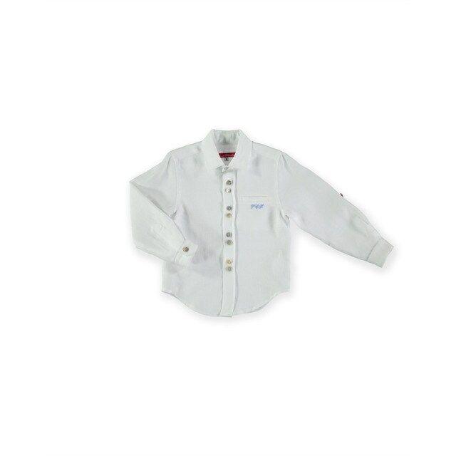 Pan Con Chocolate Camisa De Niño En Color Blanca Con Iníciales Bordadas Camisas Para Niñas Camisas Colores Blancos
