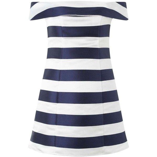 Miss Selfridge Petites Stripe Bardot Dress (598.310 IDR) ❤ liked on Polyvore featuring dresses, ivory, petite, ivory party dress, summer party dresses, night out dresses, petite white dresses and holiday party dresses