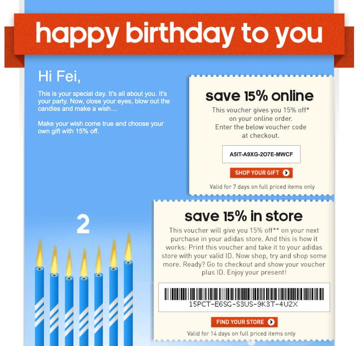 46 best Birthday Emails images on Pinterest Birthday email - print your own voucher