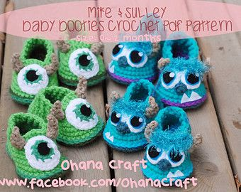 mike and sully mitten pattern | Mike & Sulley Baby Booties crochet PDF pattern ...