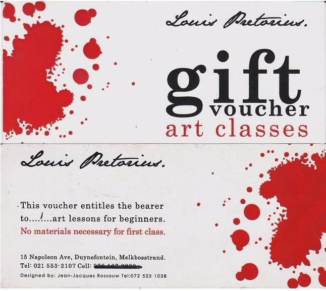 Buy a gift voucher for a friend to attend one or more art classes.At present the art is on a Wednesday morning from 9 .00 to 13.00One gift voucher is R150.00 per person for one art class in Melkbosstrand