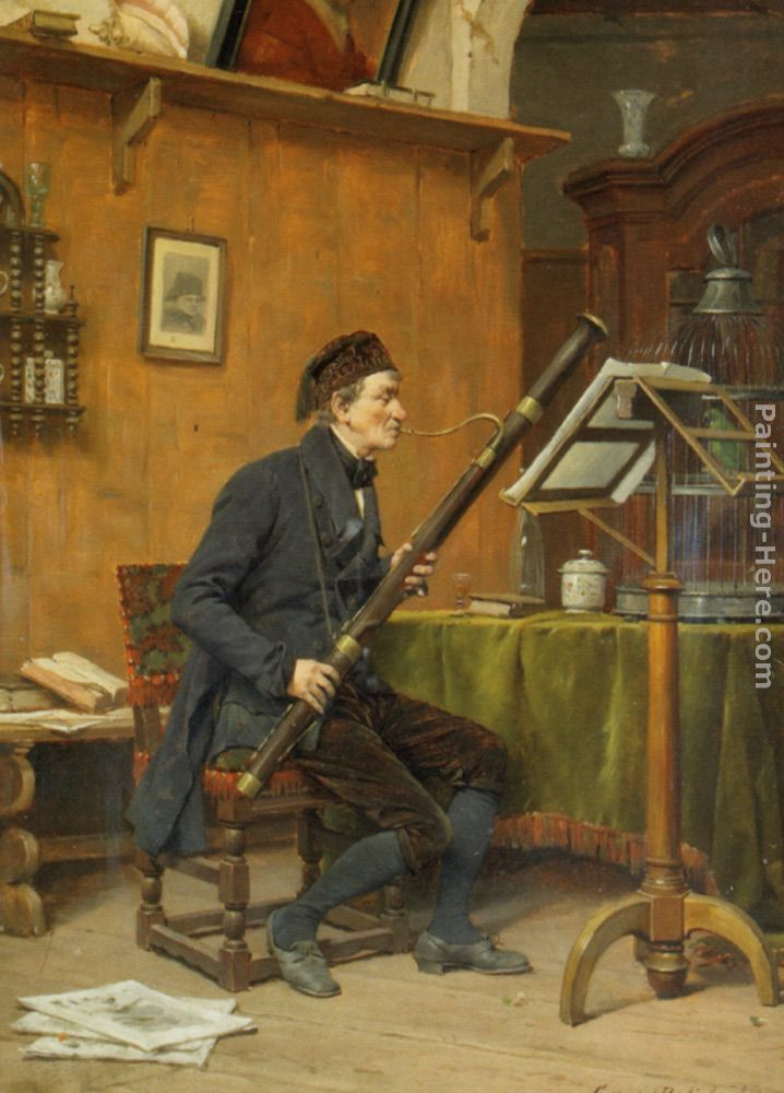 The BASSOON PLAYER Gerard Jozef Portielje (6 February 1856, Antwerp – 18 May 1929, Remich) was a Belgian painter of genre scenes.