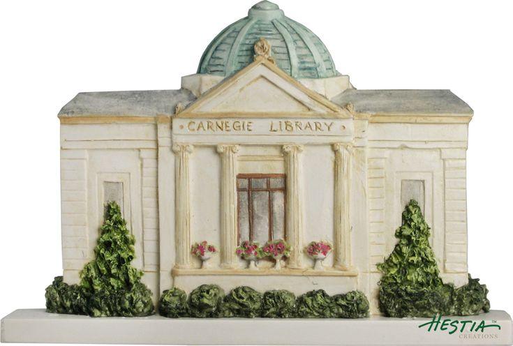 Carnegie Library in Wabash, IN sculpted miniature by Hestia Creations. #carnegielibrary #wabashin #hestiacreations #customgift #marbleheadma