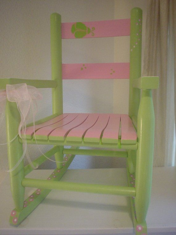 pink and green ladybug rocker..so cute could do my kids old rocker like this.